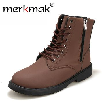 2017 New Retro Combat Boots men Autumn Winter Leather Boots Fashionable Short Black Brown Ankle boots for men size 38-44 LS141
