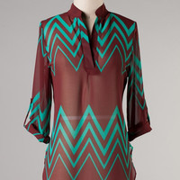 Chevron Printed V Cut Sheer Top