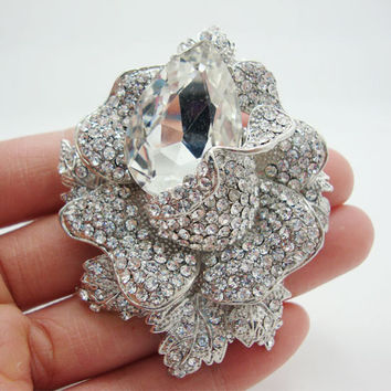 New Arrival Fashion Style Bridal Clear Rhinestone Crystal Rose Flower Brooch Pin Pendant