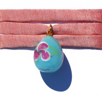 Murano's Droplet, Matisse Flower on Blue, Wrist