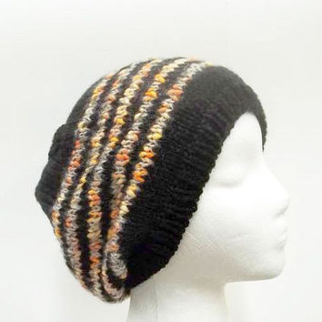 Colorful beanie hat black and multicolor stripes 5265