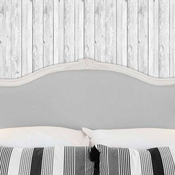 Bed Headboard with Pillows and White Wood Wall Printed Backdrop - 6249