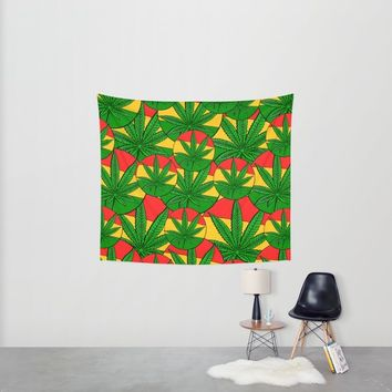 Feeling Sunny Rasta Green Wall Tapestry by Peter Reiss