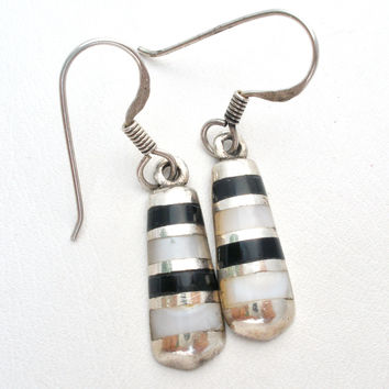 Black Onyx and Mother of Pearl Earrings 925
