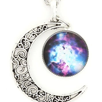 Crescent Moon and Cosmic Nebula Necklace Vintage Silver Tone Lunar Filigree Pendant NQ59 Fashion Jewelry