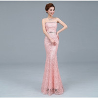 Evening Dress Bride Mermaid Wedding Party Dress Lace Crystal Strapless Sexy Long Fishtail Formal Dress = 1930093124