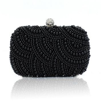 2016 vintage pearls evening bag black white pink beaded clutch bag wedding bridal clutches party dinner purse chain handbag WY05