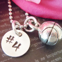 Basketball-Charm-Personalized Number-Hand Stamped-Child Necklace with Basketball Number