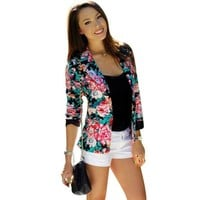 CREYHY3 Casual Women One Button Jacket Slim Casual Business Blazer Suit Floral Coat Outwear