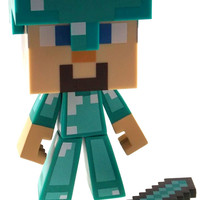 "Minecraft Steve Diamond Edition 6"" Limited Vinyl Figure Sword Helment Poseable"
