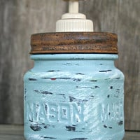 Mason Jar Soap Dispenser - Annie Sloan Chalk Paint - Duckegg Blue