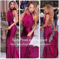 Simple Long Mermaid Prom Dress Halter Mermaid Style Low Back Pleat Sexy Floor Length Backless Purple Prom Dresses 2017