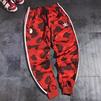 Adidas New fashion letter print sports leisure couple camouflage couple pants Red