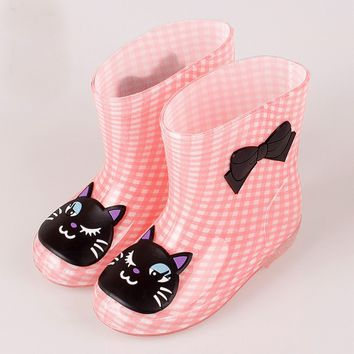 Cartoon boys and girls boots non-slip boots plus velvet boots warm seasons baby boots
