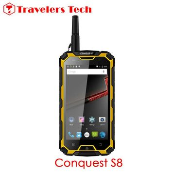 Unlocked 5.0 Inch Smartphone Conquest S8 IP68 Waterproof Rugged Phone 6000mAH 3GB+32GB Walkie Talkie OTG NFC Conquest S6 Killer