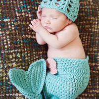 Baby Mermaid Diaper Cover and Hat Photo Prop Set - Caribbean Blue
