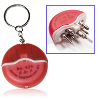 Hotian 824 6-in-1 Portable Keychain Precision Electronics Screwdriver Set Tool