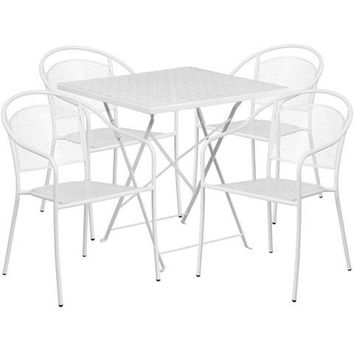 28'' Square White Indoor-Outdoor Steel Folding Patio Table Set with 4 Round Back Chairs