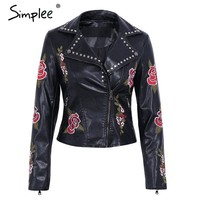 Simplee PU basic jacket coat faux leather coat