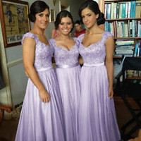 Lilac / Purple Chiffon Corset Long Bridesmaids Dress, Formal Prom Dress