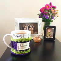 Custom made - Two tone crocheted knitted inspirational coffee mug cozy with cherry wood button - INCLUDE MEASUREMENTS