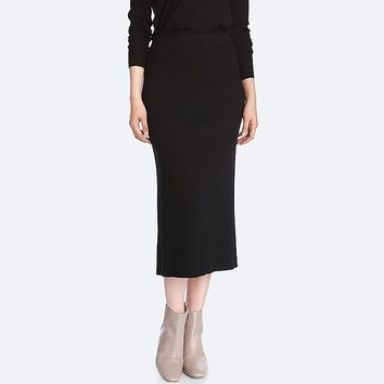 WOMEN MERINO BLEND RIBBED SKIRT