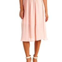 Front Slit Chiffon Full Midi Skirt by Charlotte Russe - Peach