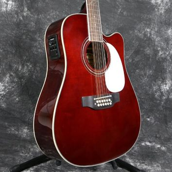 Starshine Fashion Style 12 Strings 41'' Electric Acoustic Guitar Solid Spruce With Fishman 101 EQ Chrome Hardware Wine Red Color