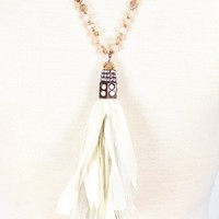 Long Beaded Pearl + Beige Lace Tassel Necklace