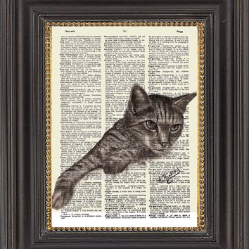 Cat Wall Art, Painting Print on Antique Dictionary Paper, Tabby Cat Art Print on Vintage Dictionary Page, Cat Illustration, Cat Wall Decor