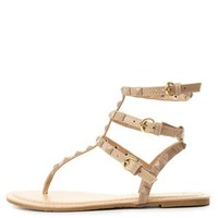Nude Studded T-Strap Thong Sandals by Charlotte Russe