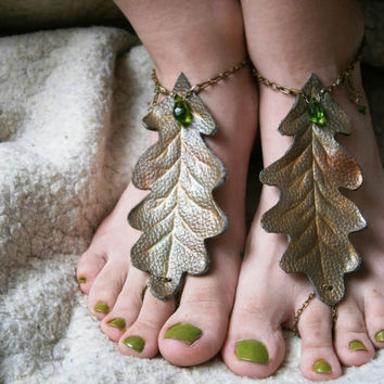 Elven barefoot sandals,oak leaves,forest nymph barefoot sandals,nature,boho, summer.fantasy,druid,elven anklet,rustic weding,wiccan,opalite,