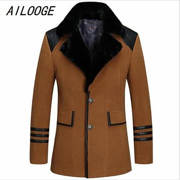 AILOOGE The New Men Coat 2017 New Men's Trench Coat Long Sleeves Slim-fit Single-breasted Men Fashion Trench Coat