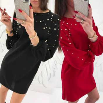 New Women Sexy Bodycon Dress Crew Neck Solid Color Pearl Beading Long Sleeve Knit Knitwear Loose Short Mini Dress