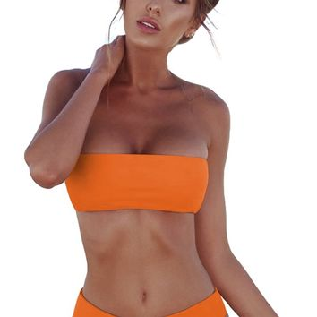 All For It Strapless Bandeau High Waist Brazilian Bikini Two Piece Swimsuit - 7 Colors Available