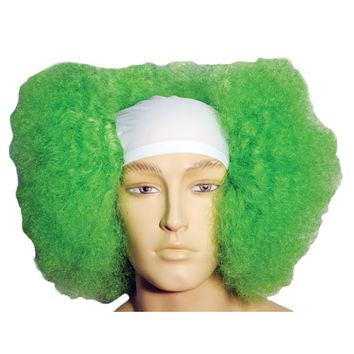 Bald Curly Clown Wt Front Gr Wig