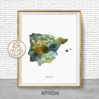 Spain Map Art, Spain Print, Watercolor Map, Map Painting, Map Artwork, Country Art, Office Decorations, Country Map Art Print Zone