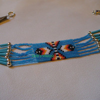Native American Style Feathers Anklet in Blue Denim