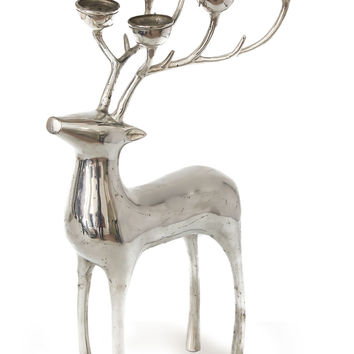 Silver finished bronze candelabra - Forest Deer | NOVICA