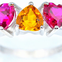 3 Carat Citrine and Ruby Heart Ring .925 Sterling Silver Rhodium Finish White Gold Quality