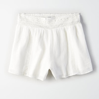 AE Lace Trim Short, White