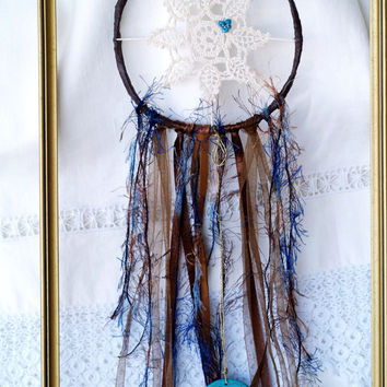 Doily Dream Catcher, Handmade Blue Brown Boho Circle, Ivory Lace Dreamcatcher, Bohemian Home Decor, Gift for Her, Gift for Him, Unique Decor