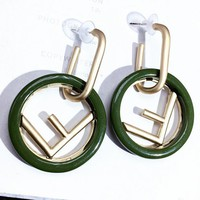 FENDI 925 Silver Popular Women Personality F Letter Circular Pendant Earrings Accessories Jewelry Green