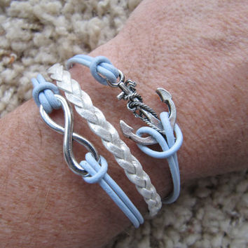 USA Seller- Leather Anchor and Infinity Friendship Charm Bracelet
