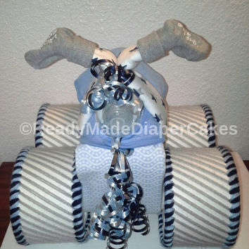 Navy Blue Light Blue and Grey Themed Baby Shower Four Wheeler Diaper Cake Table Centerpiece Unique Baby Shower Gift