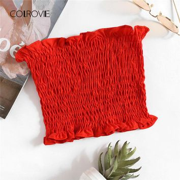 COLROVIE Shirring Stretchy Bandeau Top 2018 New Strapless Frill Vacation Crop Woman Top Summer Red Plain Slim Fit Vest