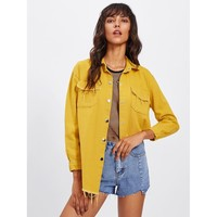 Frayed Curved Hem Yellow Denim Jacket