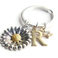 Sunflower Keyring, Daisy Keychain, Personalized Keyring, Star Key Ring, Initial Bag Charm, Sister Gift, Best Friends, Birthday, Mothers Day