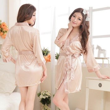 Preeminent Womens Satin Lingerie Chiffon Sleepwear Nightdress G-string Robes Lace Gown = 1695426244