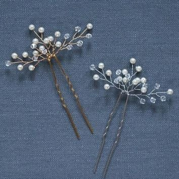 Shiny Wedding Hairpins Gold Silver Crystal Pearl  Bride Hair Sticks Queen Jewelry Ornaments Handmade Hair Fork Hair Accessories